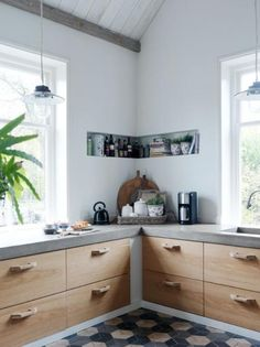 kitchen | tiles | plants | shelf