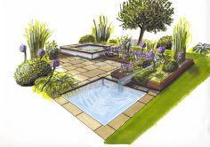 Ashley Thompson Garden Design- for Kent. Ashley Thompson Garden Design- for Kent. Landscape Architecture Drawing, Landscape Sketch, Landscape Design Plans, Garden Design Plans, Landscape Drawings, Garden Drawing, Garden Planning, Garden Landscaping, Landscaping Design
