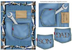 Tools topper Birthday Dad Son Blank on Craftsuprint designed by Anne Lever - This fab tools themed topper has an extra layer with happy birthday on it, which could be used as a separate topper. It also has the little denim pocket with dad or son on it - Now available for download!