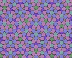 Tiling - In the early 1970's, Roger Penrose and Robert Ammann independently found sets of tiles with considerably fewer tiles. The first set of tiles Penrose found had six tiles and could tile the plane as shown here.