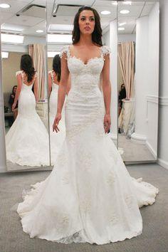 On Sale Popular Mermaid Wedding Dresses Modern Sweetheart Cap Sleeves Lace  Appliques Open Back Mermaid Wedding Dresses Wedding Dresses 2069cd7d1ec4