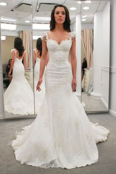 Elizabeth chose this stunning sheath at Kleinfeld. Hover over the hearts to see all the details about the designer, fabric and more. #weddingdress123 Pinterest DJ Michael Eric Berrios