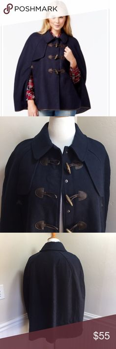 """Maison Jules Faux-Leather-Trim Toggle Cape. B61 Maison Jules Faux-Leather-Trim Toggle Cape. 82% polyester 6% wool 5% acrylic 7% other fibers. Trim not leather. Perfect for anything. 31/34"""" long. Fits loose. Fabric feels like wool. Navy blue with brown trim. Maison Jules Jackets & Coats Capes"""