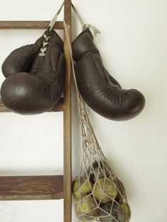 Vintage Boxing Gloves 1940s leather stuffed by CharmantCharmant