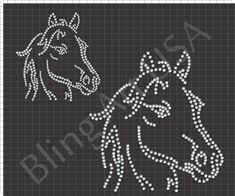 Horse Rhinestone Download File Equestrian Template Pattern Equine Art Pony Bling Stone System Easy Color