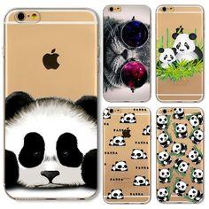 팬더 case 대한 iphone 6 6 s plus 6 플러스 5 초 se 4 4 초 5 5C 고양이 동물 부드러운 실리콘 투명 펀다 coque 커버 다시 피부 쉘