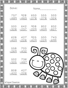 Spring Themed 3 Digit Subtraction With Regrouping Math Activities, Teaching Resources, Subtraction Worksheets, 2nd Grade Math, Home Learning, Addition And Subtraction, Elementary Math, Dj Inkers, Spring Theme