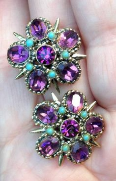 Vintage Turquoise Purple Amethyst 3D Star Earrings Hollycraft? Florenza? Clip