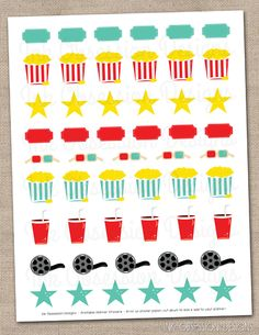 Movie Night Printable Planner Sticker Set Instant Download Movie or Date Night Stickers PDF
