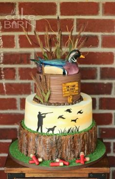 15 Ideas Birthday Cake For Boyfriend Hunting Duck Hunting Cakes, Hunting Birthday Cakes, Hunting Grooms Cake, Hunting Cupcakes, Groomsman Cake, Groom Cake, Birthday Cake For Boyfriend, Duck Cake, Grooms Table