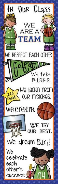 BASKETBALL Theme Classroom Decor / Character Education Banner / X-Large Banner / In Our Class / JPEG / graphics by Melonheadz / ARTrageous FUN