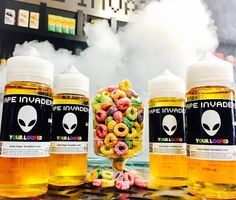 """Exclusive Vape Invaders e-juice! Only available in 120ml bottles and for a limited time until quantities last! """"Your Looped"""" is a delicious Froot Loops flavour.   #vapeinvaders #vapelife #vapenation #vapefam #ejuice #premiumejuice #vaping #vape #gtavapers #toronto"""