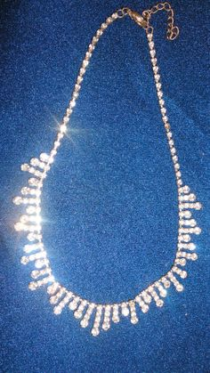 Clear rhinestones necklace Choker by PatsapearlsBoutique on Etsy, $19.99