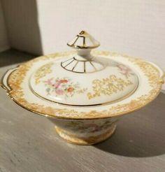 Noritake sugar bowl with lid Japan Pink Sugar, Orange Grey, Noritake, Gold Flowers, Sugar Bowl, Bone China, Cup And Saucer, Japan, Free Shipping