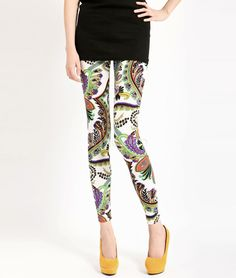 photo 1 of 3 Purple Peacock Print Polyester Women's Cropped Leggings - Milanoo.com