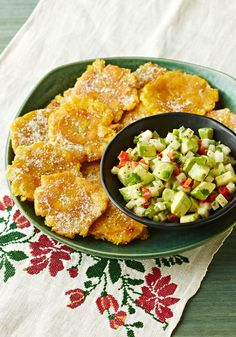 Plantain Chips with Jicama and Avocado Salsa-Explore Latin American flavors at home with this easy recipe for skillet-cooked Plantain Chips with Jicama and Avocado Salsa.