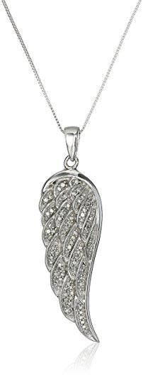 10K White Gold Diamond Angel Wing Pendant Necklace #angel #necklace #grey #women