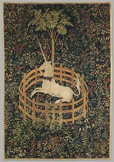 """The Unicorn in Captivity"" from ""The Hunt of the Unicorn"" tapestries in the Cloisters Museum branch of the Metropolitan in New York. Approximately 12 feet by 9 feet, this is the penultimate form of the weavers art. Woven sometime between 1495 and 1505 in the Netherlands by an unknown workshop. It is thought that this tapestry and its' companion pieces, were part of a commission for the marriage of the as yet unidentified ""A & E""."