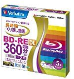 Verbatim Mitsubishi 50GB 2x Speed BD-RE Blu-ray Re-Writable Disk 5 Pack  Ink-jet printable  Each disk in a jewel case