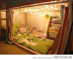 Fort under loft bed.So doing this for my son's bed .we just bought the IKEA Kura bed LOVE it. My New Room, My Room, Dorm Room, Kura Ikea, Ikea Bed, Kura Hack, Ikea Loft, Kids Bedroom, Bedroom Decor