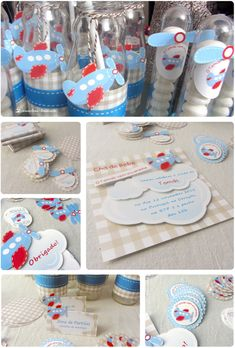 Details of the preparation. The color pallet in shades of blue, beige and red