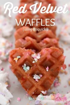 We love our weekends - especially the lazy days when we can lounge around and relax. One of my kids favorite weekend breakfast treats are waffles. Well, with Valentine's Day around the corner and my Yummy Treats, Delicious Desserts, Yummy Food, Sweet Treats, Red Velvet Waffles, Waffle Iron Recipes, Waffle Mix, Bubble Waffle, Valentines Day Food