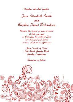 vintage wedding invitation with paisley design