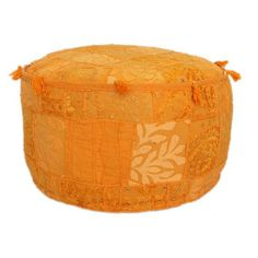 nuLOOM Handmade Casual Living Indian Round Orange Pouf ($90) ❤ liked on Polyvore featuring home, furniture, ottomans, orange, patchwork ottoman, nuloom furniture, patchwork furniture, hand made furniture and nuloom