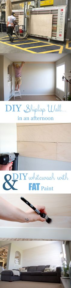 How to make and whitewash a shiplap wall...