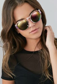 Watercolor Print Round Sunglasses   Forever 21 - 1000100652