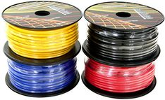 #GS Power's #12 #Gauge #Ga, #4 #Rolls of #100 #Feet (total of #400 ft) #Car #Audio #Video #Primary #Remote #Turn on #Hook up #Trailer #Wire (Cable #Color Set: #Black #Red #Blue #Yellow ) #4 #rolls of #12 #Ga general purpose #primary #wire in #100 #ft spool. Comes conveniently in spool #rolls Single Conductor, Stranded Copper Clad Aluminum (0.2 mm dia/strand, 68 strands). Insulated and Jacketed in flexible PVC. Rated to 105 C Perfect for #12 V Automotive, #Car Radio #Audio, Bo