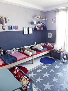 darling red, white and blue boys bedroom! #star #navy