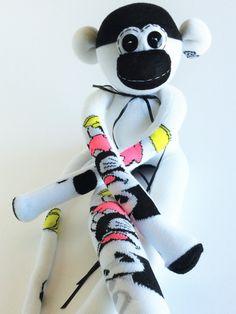 Sock Monkey-Mouse-Mickey-Handmade-Cartoon-Monkey-Plushie-Black, White-Stuffed Animal-Stuffed *one of a kind* by MissysMonkeys on Etsy