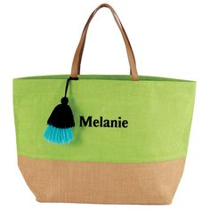 Color Pop Jute Tassel Tote Bag In Lime Green By Mud Pie