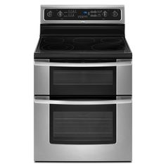 Whirlpool Gold 30-in Smooth Surface 5-Element 2.5 cu ft/4.2 cu ft Double Oven Electric Range (Stainless Steel)