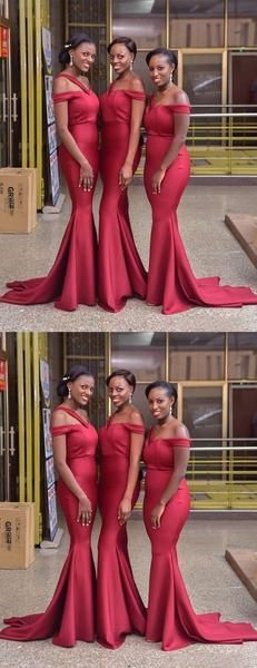 Red One Strap Off Shoulder Mermaid Sweep Train Long Bridesmaid Dresses, Western Wedding Dresses, Princess Wedding Dresses, Wedding Party Dresses, Bridal Dresses, Casual Bridesmaid Dresses, Beautiful Bridesmaid Dresses, Wedding Bridesmaids, Red Dress Outfit, Boho Dress