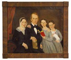American School, early 19th Century Family Portrait.