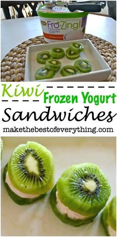 Kiwi Frozen Yogurt Sandwiches that are Gluten-Free! Gluten Free Desserts, Healthy Desserts, Delicious Desserts, Healthy Recipes, Healthy Food, Yummy Food, Kiwi Recipes, Snack Recipes, Frozen Desserts
