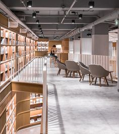 Completed in 2017 in Ningbo, China. Images by Dirk Weiblen. Kokaistudios designed for Alt-Life Bookstore in Ningbo celebrates space fluidity and variety, organic geometries and the notion of circulation as a. Staircase Landing, Grand Staircase, Public Library Design, Glass Pavilion, Interior Architecture, Interior Design, Acrylic Panels, Book Cafe, Ningbo