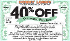 Get your Hobby Lobby Coupon!  Just scroll down on web page and click on coupon to bring up then PRINT!  You can use on anything except what is listed, I even used it on my purchase of Spellbinder's Grand Calibur. Saved over $50.00 with this coupon. Just remember, item has to be regular price, sale items do not qualify.