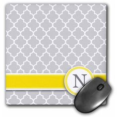 3dRose Your personal name initial letter N - monogrammed grey quatrefoil pattern - personalized yellow gray, Mouse Pad, 8 by 8 inches