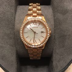 Citizen watch Ladies Citizen Eco-Drive watch. Doesn't require batteries, works from any kind of light.  Rose gold color. Never been worn, still in box. Accessories Watches