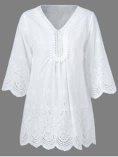 Plus Size Crochet Lace Splicing BlouseCasual Dresses For Women - Cute White Casual Summer Dresses & Casual Maxi Dresses Fashion Sale Online Casual Summer Dresses, Casual Dresses For Women, Vetements Clothing, Tunic Blouse, Peasant Blouse, Boho Tops, Blouse Designs, Blouses For Women, Fashion Dresses