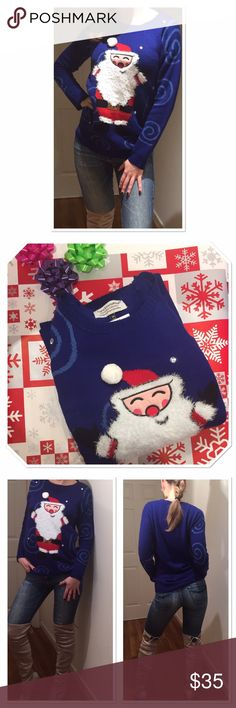 """NWT not so ugly Santa Clause sweater 🎅🏻❄️ This will probably too cute to win an ugly sweater competition, but this sweater is so cozy and great for all the Christmas parties! Deep blue color, Santa's beard is fuzzy, his belt has sequins and there are couple shiny crystals🎉❄️size M pit to pit: 19,5"""" length: 27"""". New, never worn, no tags. Tiara International Sweaters Crew & Scoop Necks"""