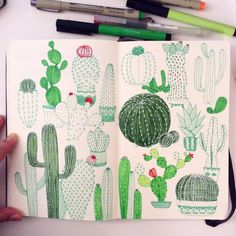 """""""Day 21, Cactus I'm catching up #CBDrawADay #creativebug #doodle #moleskineart #sketchbook #linedrawing #cactus #green"""""""