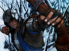 An arrow in the knee - Connor kenway drawing by LaNarquoise.deviantart.com on @deviantART