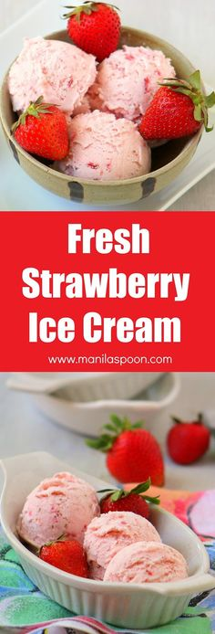 easy homemade ice cream Egg-free and creamy-licious Fresh Strawberry Ice Cream. So easy to make and no need to use an ice cream maker! Ice Cream Desserts, Köstliche Desserts, Frozen Desserts, Fruit Ice Cream, Make Ice Cream, Frozen Treats, Dessert Recipes, Homemade Strawberry Ice Cream, Strawberry Recipes
