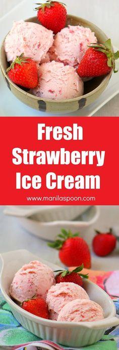 ice cream homemade strawberry ice cream eggless strawberry ice cream ...