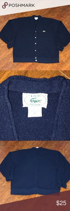 """LACOSTE VINTAGE CARDIGAN IZODE CLASSIC NAVY SZ L SZ- L LENGTH- 25"""" WIDTH- 22"""" (pit 2 pit) INSIDE ARM LENGTH- 17""""  This item is Pre-Owned and is in excellent condition. Everything sold in our closet is washed and ready for wear as soon as it's delivered to you. Thank you for stopping by Please be sure to check us out daily for new inventory. Lacoste Sweaters Cardigans"""
