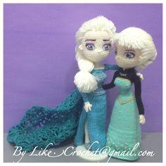 Two Elsa Snowqueen of Frozen Coronation Day Elsa ice gown Elsa By LikeCrochet Amigurumi crochet dolls